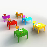 Cartoon Desks Chairs Classroom 3d model