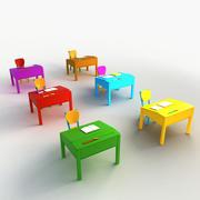 漫画デスク椅子教室 3d model