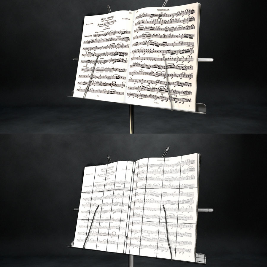 Music Stand royalty-free 3d model - Preview no. 2
