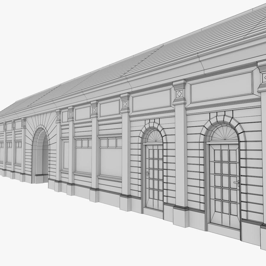 Europejski budynek trzy teksturowany royalty-free 3d model - Preview no. 14