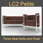 LC2 몸집이 작은 3 좌석 소파와 의자 3d model