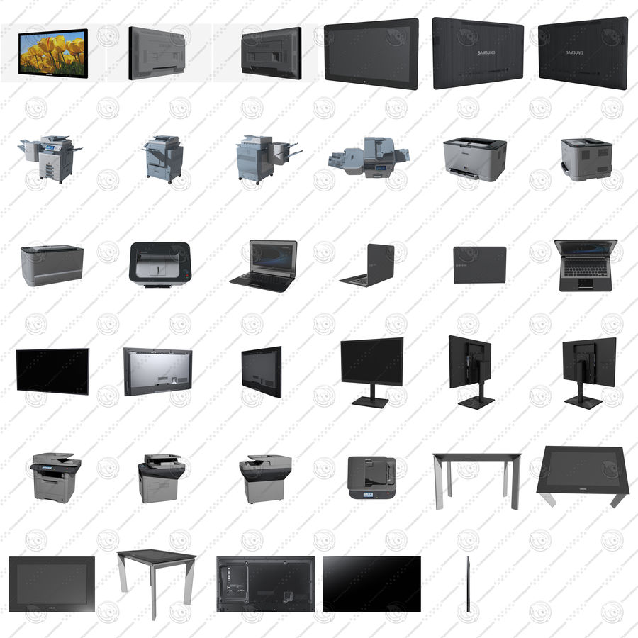 Kit électronique de bureau royalty-free 3d model - Preview no. 2