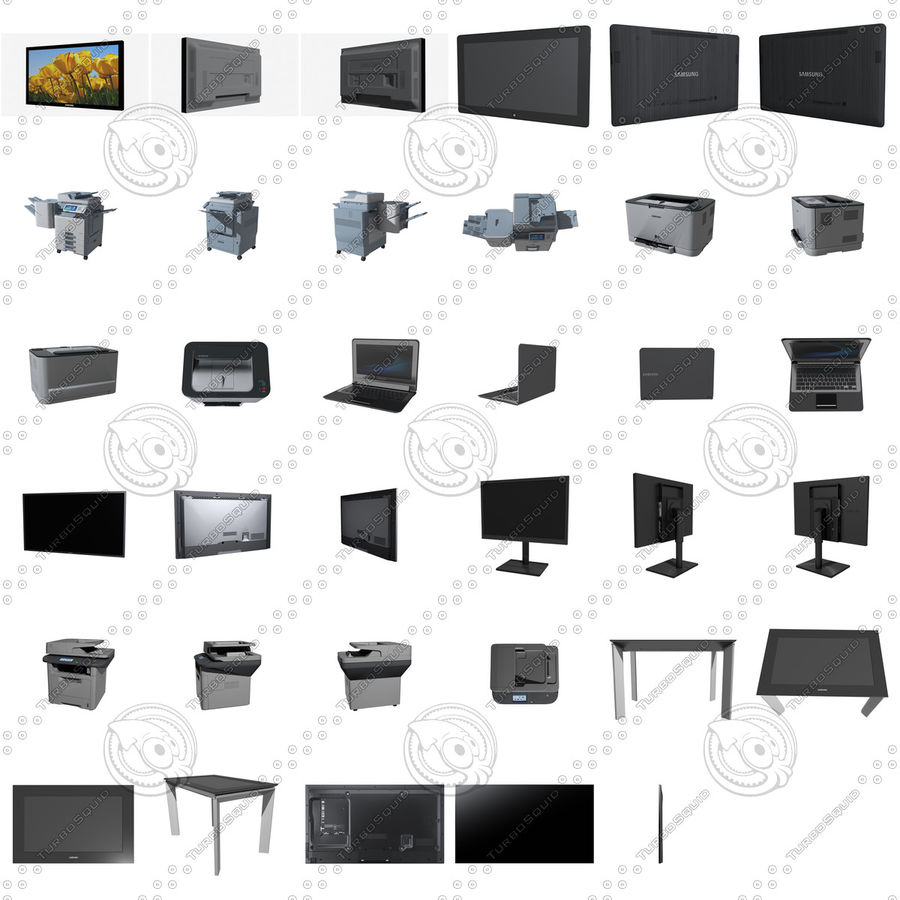 Office electronics set royalty-free 3d model - Preview no. 2