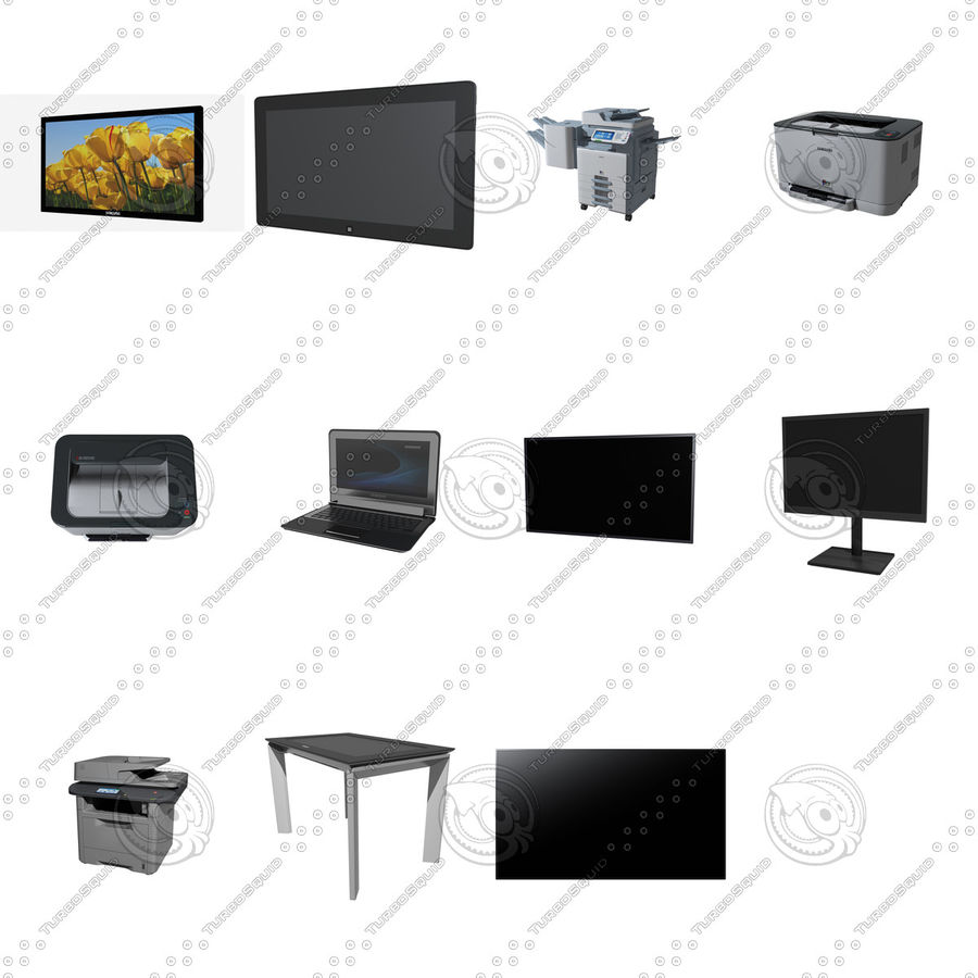 Office electronics set royalty-free 3d model - Preview no. 1