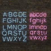 Neon alphabet upper and lower case 3d model