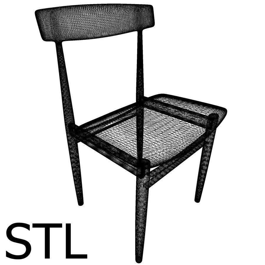 Danish Modern Chair royalty-free 3d model - Preview no. 8