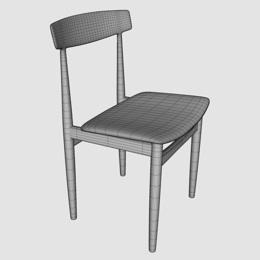 Danish Modern Chair royalty-free 3d model - Preview no. 6