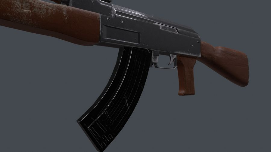 AK 47 royalty-free 3d model - Preview no. 4