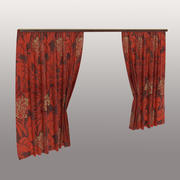 Red curtains with floral print 3d model