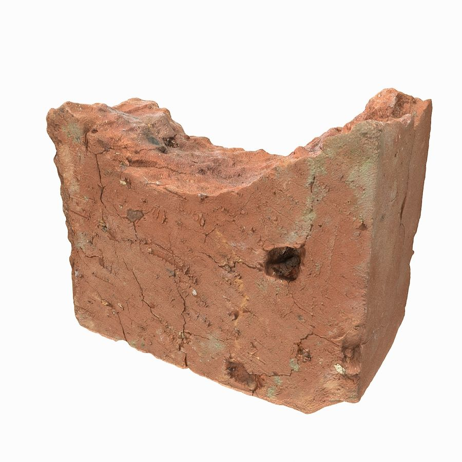Realistic Damaged Orange Brick (2) royalty-free 3d model - Preview no. 13