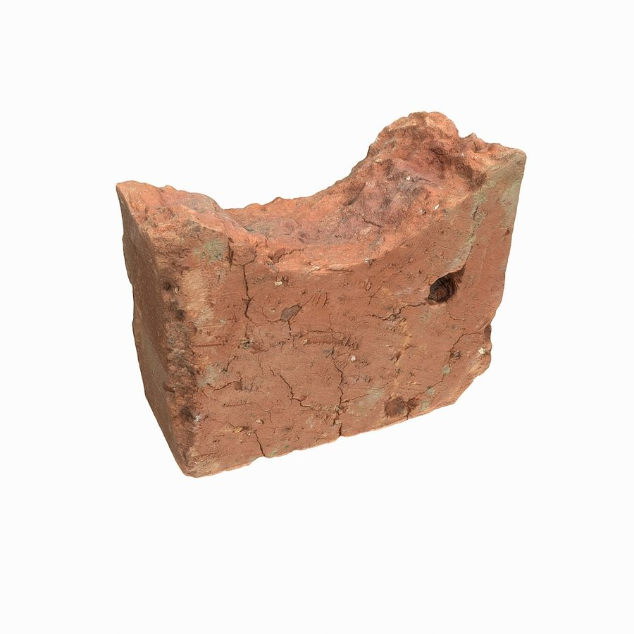 Realistic Damaged Orange Brick (2) royalty-free 3d model - Preview no. 14