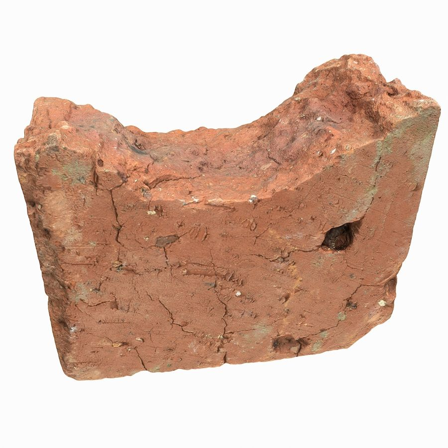 Realistic Damaged Orange Brick (2) royalty-free 3d model - Preview no. 11