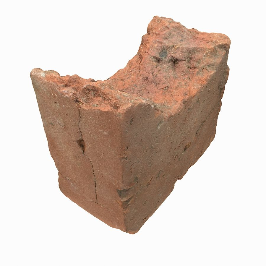 Realistic Damaged Orange Brick (2) royalty-free 3d model - Preview no. 23