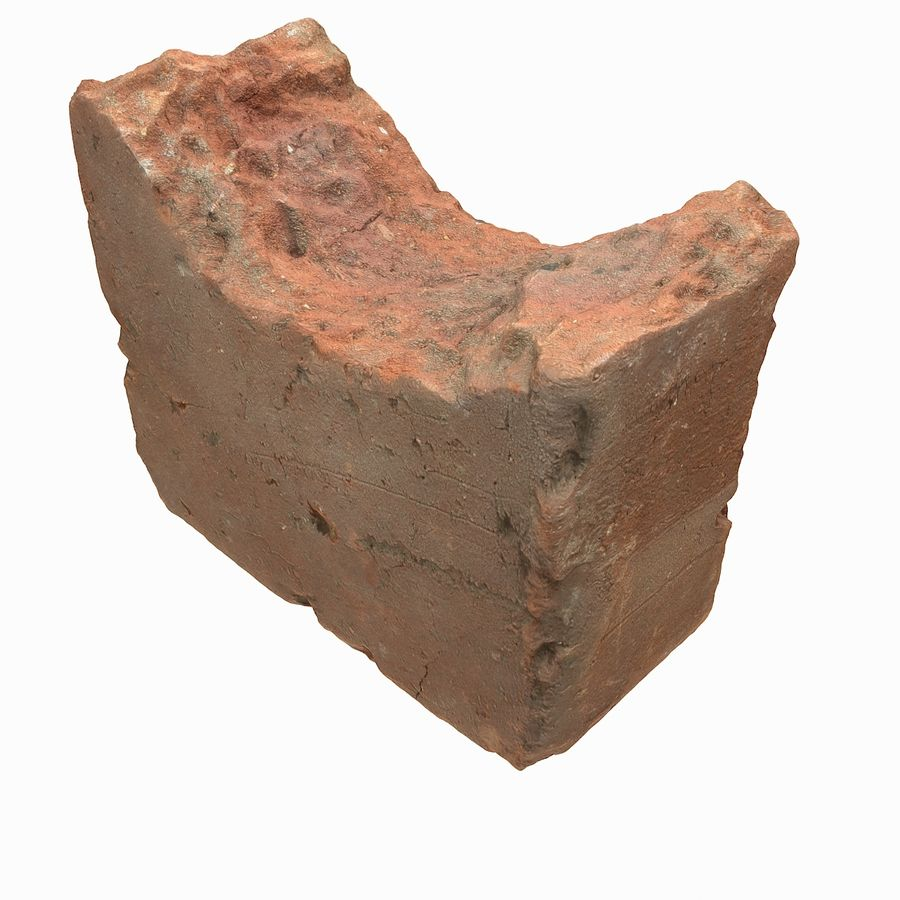 Realistic Damaged Orange Brick (2) royalty-free 3d model - Preview no. 21