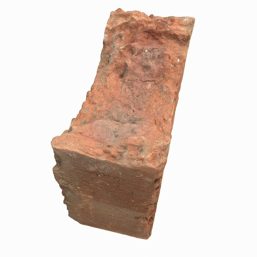 Realistic Damaged Orange Brick (2) royalty-free 3d model - Preview no. 15
