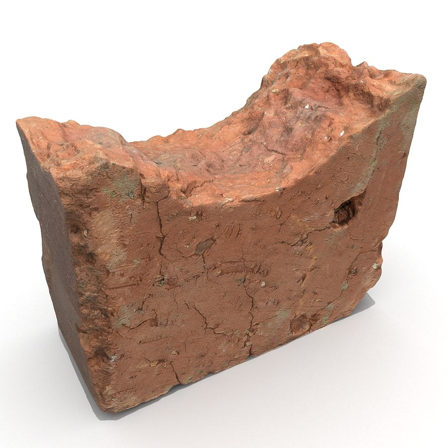 Realistic Damaged Orange Brick (2) royalty-free 3d model - Preview no. 24