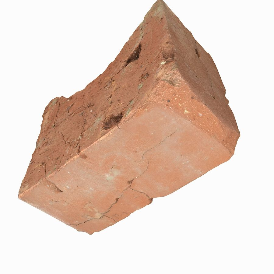 Realistic Damaged Orange Brick (2) royalty-free 3d model - Preview no. 18
