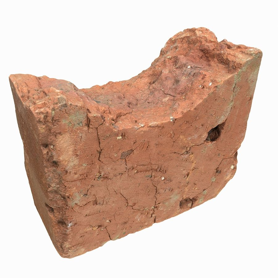 Realistic Damaged Orange Brick (2) royalty-free 3d model - Preview no. 10