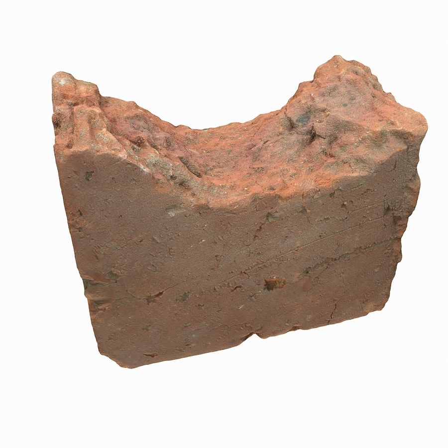 Realistic Damaged Orange Brick (2) royalty-free 3d model - Preview no. 16