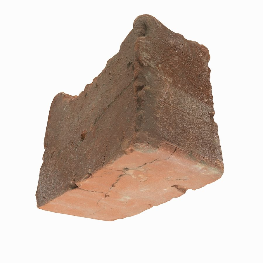 Realistic Damaged Orange Brick (2) royalty-free 3d model - Preview no. 20