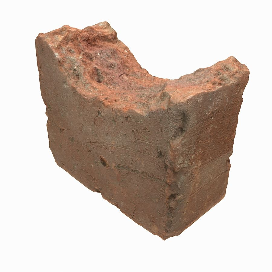 Realistic Damaged Orange Brick (2) royalty-free 3d model - Preview no. 4