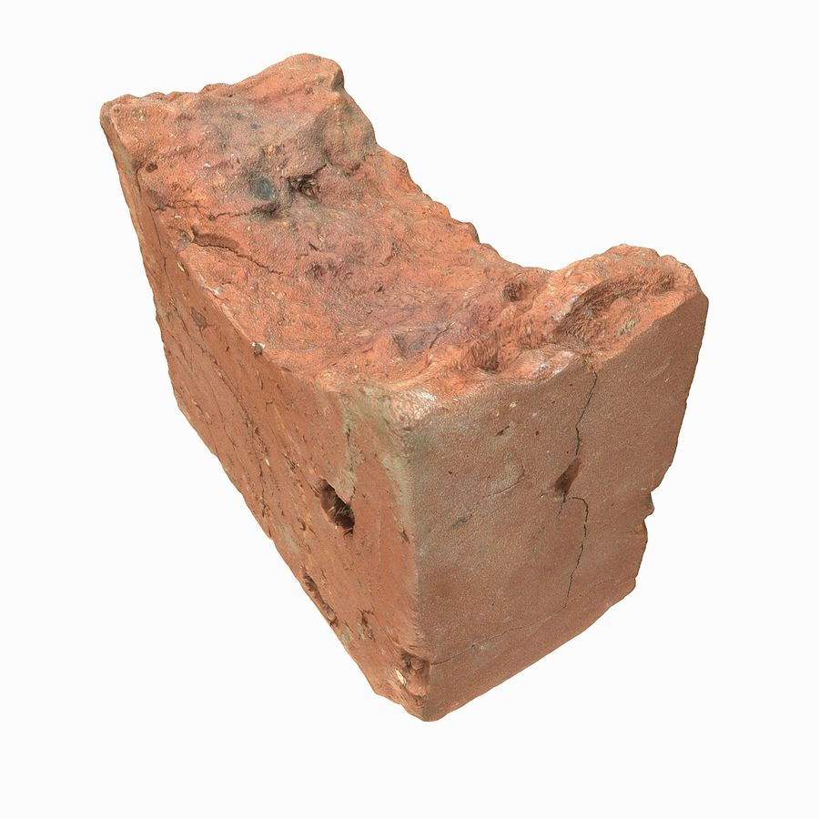 Realistic Damaged Orange Brick (2) royalty-free 3d model - Preview no. 17
