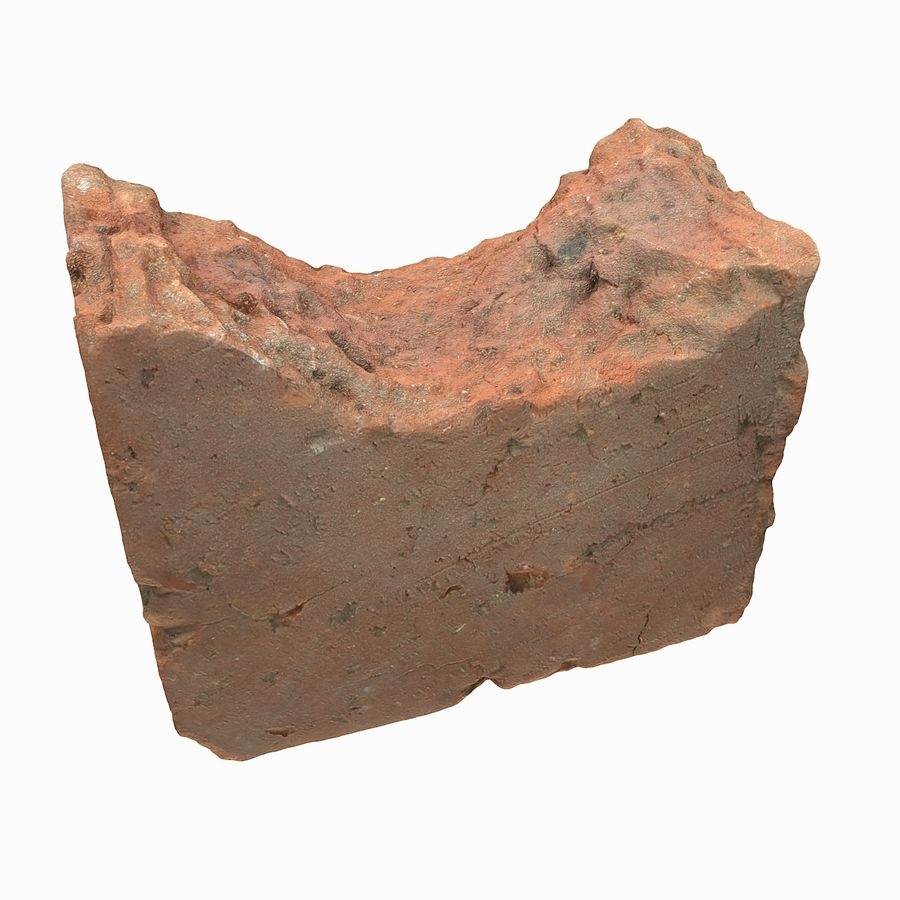Realistic Damaged Orange Brick (2) royalty-free 3d model - Preview no. 6