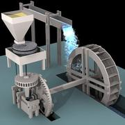 Water Mill Machinery, Animated 3d model
