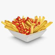 Pommes frites tallrik med ketchup 3d model