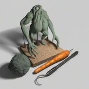 Ferramentas e monstro feio de argila 3d model