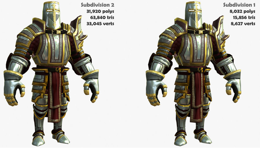 Game Knights (Series A) K2b royalty-free 3d model - Preview no. 3