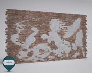 mur de briques avec du vieux plâtre reproductible 3d model