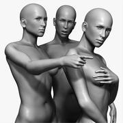 Vrouw poseerde sculpturen 3d model