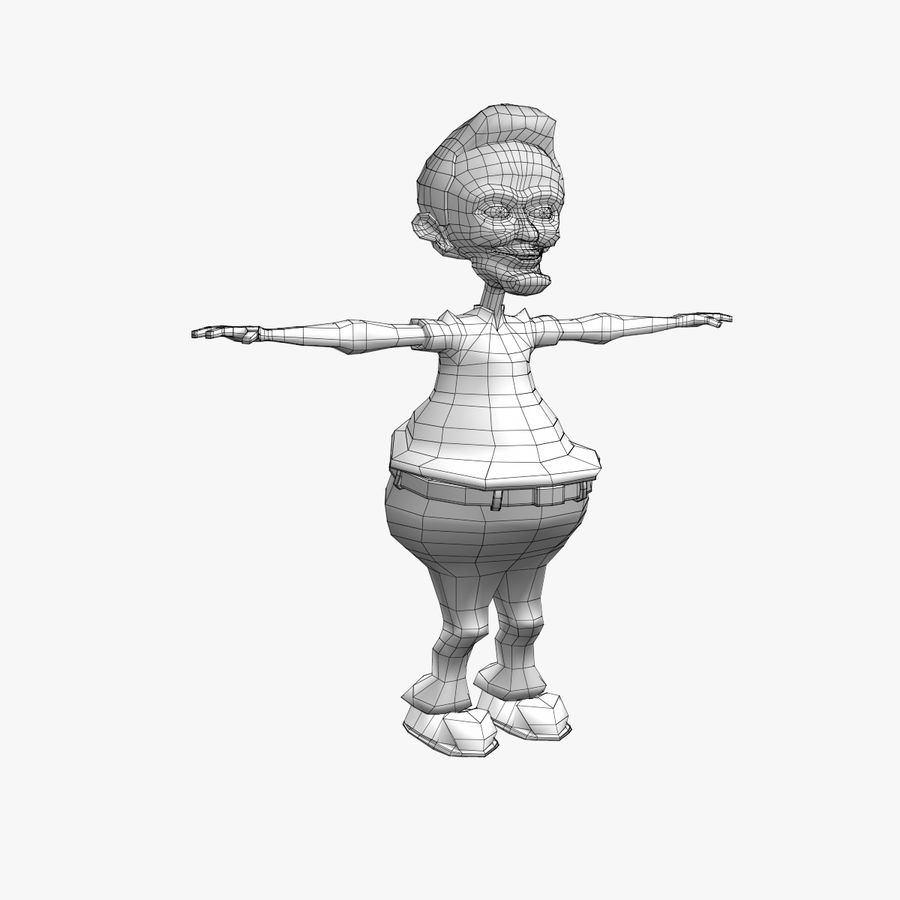 Cartoon Man Character royalty-free 3d model - Preview no. 10