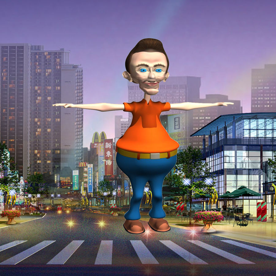 Cartoon Man Character royalty-free 3d model - Preview no. 2