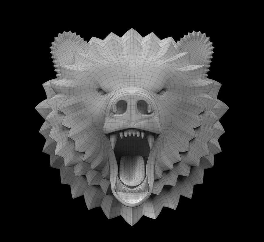 A cabeça do urso royalty-free 3d model - Preview no. 3