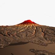 Cena do dia e da noite do vulcão 3d model