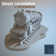 Steam Locomotive Train (3D Model) 3d model