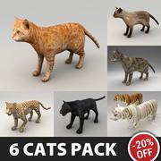 Pakiet 6 olinowanych kotów 3d model
