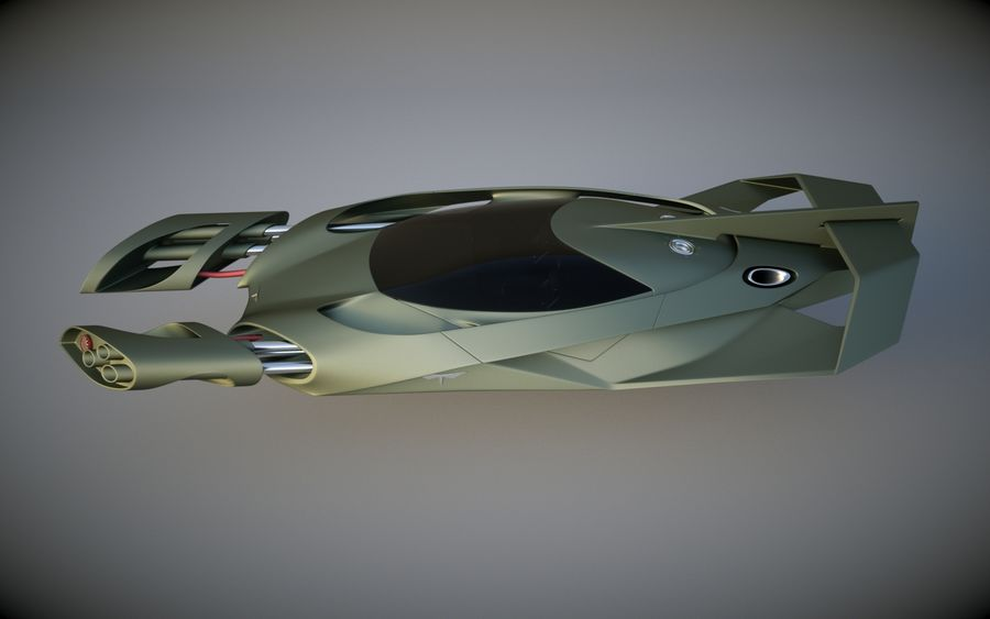 T-Fighter royalty-free 3d model - Preview no. 3
