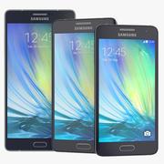 Samsung Galaxy A7 A5 A3 Collectie van smartphones blauw en wit 3d model