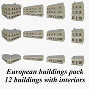 Europeisk byggnadssamling med inredda strukturerade 3d model