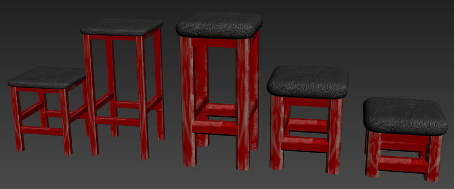 Stühle Hocker royalty-free 3d model - Preview no. 3