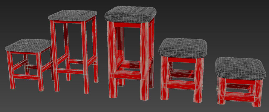 Stühle Hocker royalty-free 3d model - Preview no. 4
