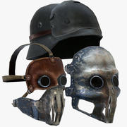 Nazi-Maske und Helm 3d model