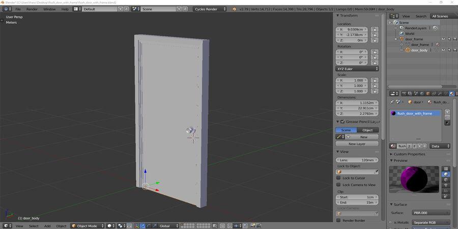 Vlakke deur met kozijn royalty-free 3d model - Preview no. 6