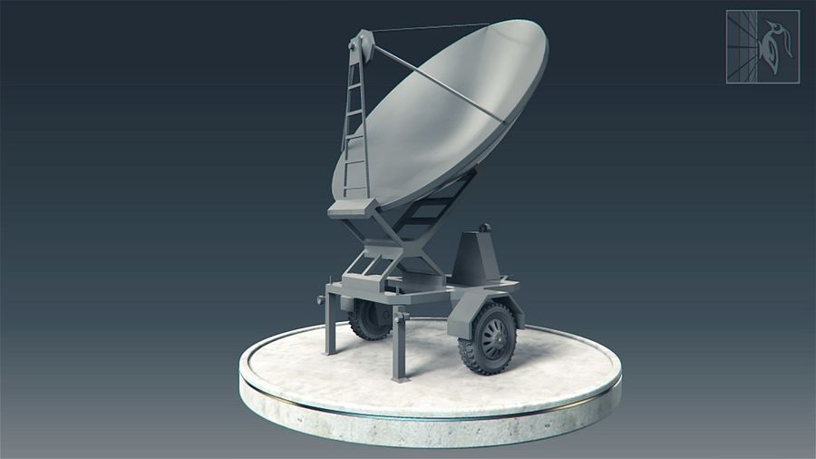 Military radar vehicle royalty-free 3d model - Preview no. 3