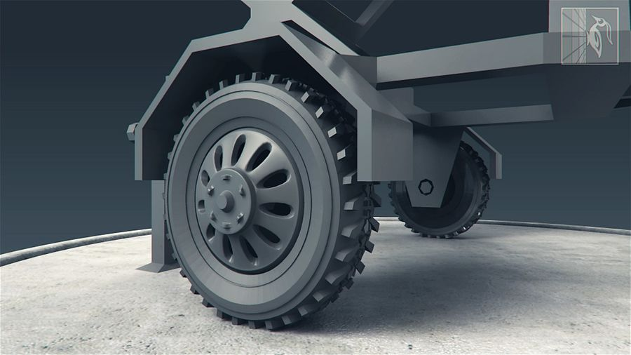 Military radar vehicle royalty-free 3d model - Preview no. 2