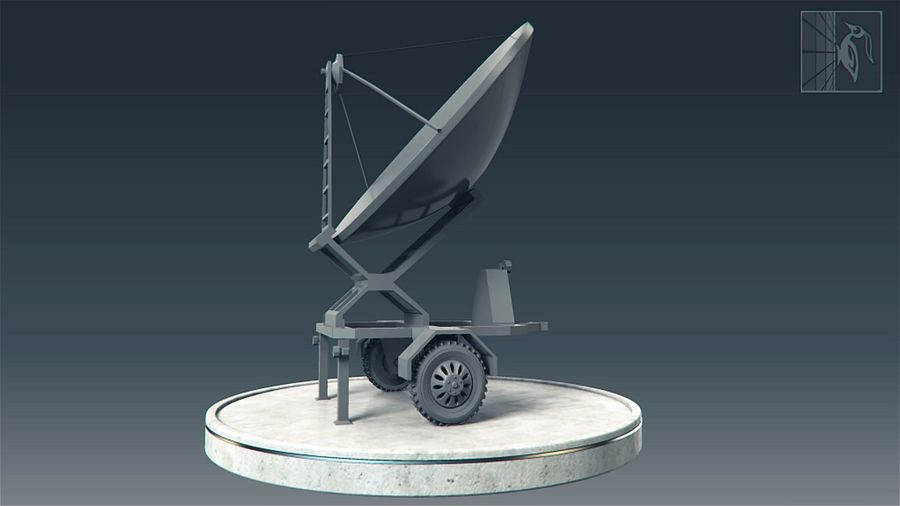 Military radar vehicle royalty-free 3d model - Preview no. 4