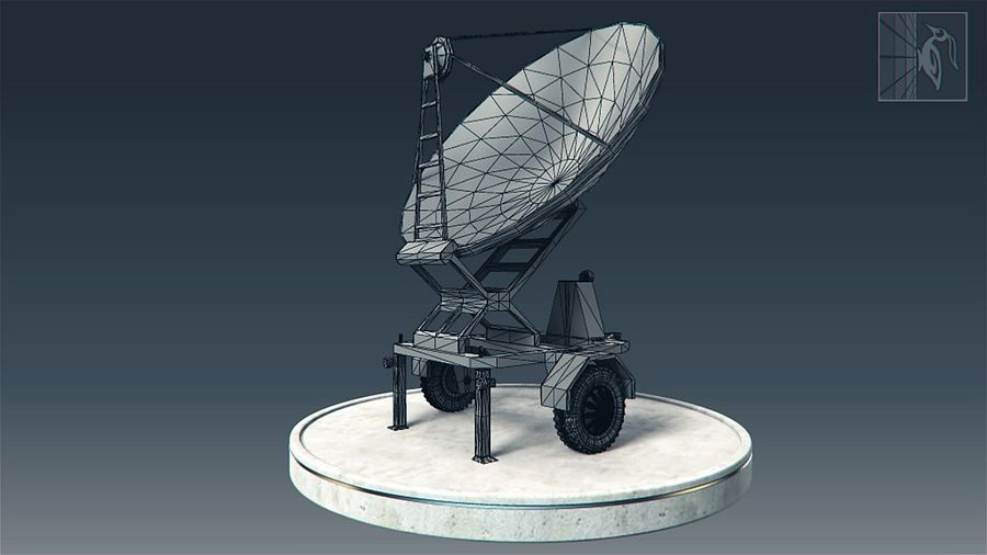 Military radar vehicle royalty-free 3d model - Preview no. 5